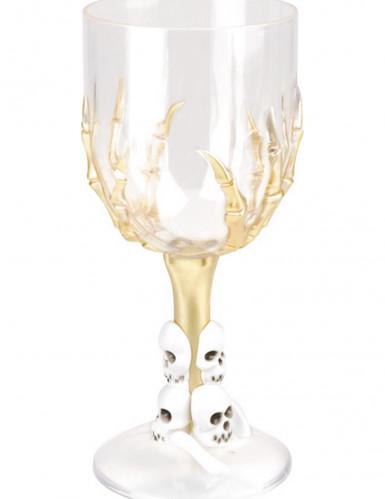 Halloween Tischdeko Skelett-Kelch transparent-gold 300 ml