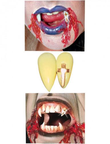 Vampir-Zähne mit Kreuz in Gold Halloween Kostümaccessoire gelb-gold