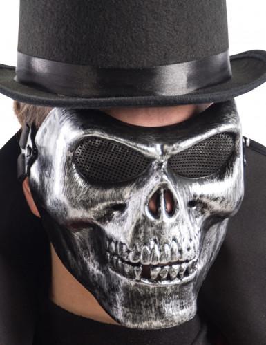 Skelett Totenschädel Halbmaske schwarz-grau