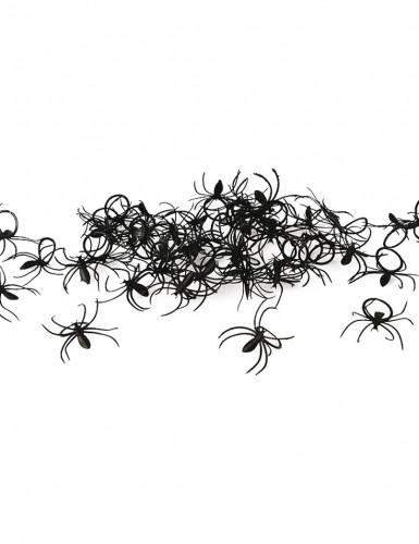 Set 50 Spinnen-Ringe Halloween schwarz 2 x 3 cm