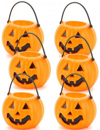 Kürbis-Eimer Halloween-Deko 6 Stück schwarz-orange 6,5x5 cm