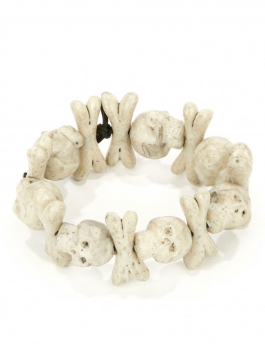 Totenkopf Halloween-Armband mit Knochen weiss