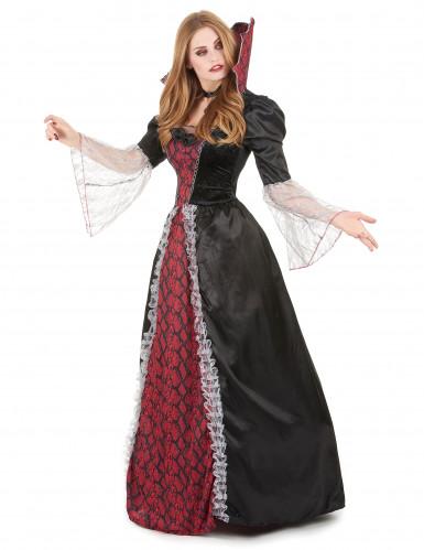 Edle Vampirdame Halloween Damenkostüm schwarz-rot-1