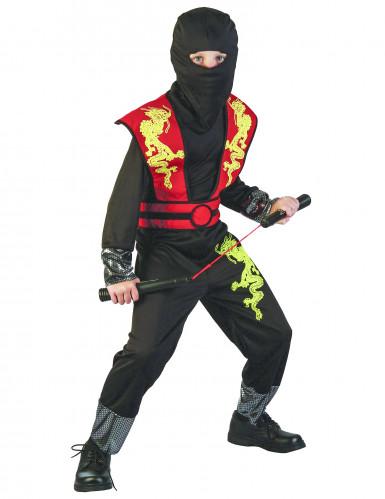 Mystisches Ninja-Kostüm für Jungen Halloweenkostüm schwarz-rot-gelb