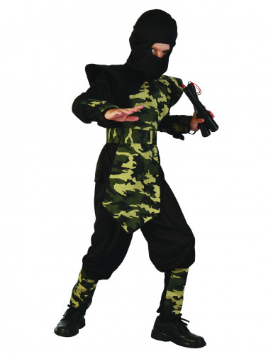 Ninja-Kostüm für Jungen Militär schwarz-grün