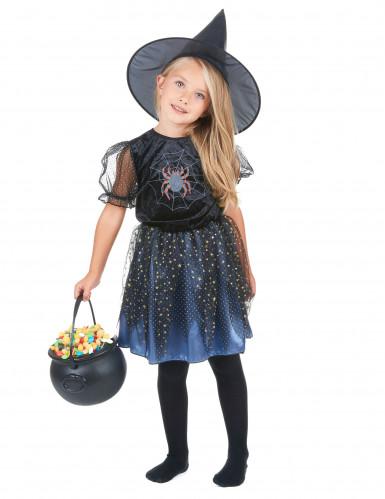 Süsse Spinnen-Hexe Halloween-Kinderkostüm lila-schwarz-silber