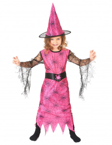 Spinnen-Hexe Halloween-Kinderkostüm für Mädchen rosa