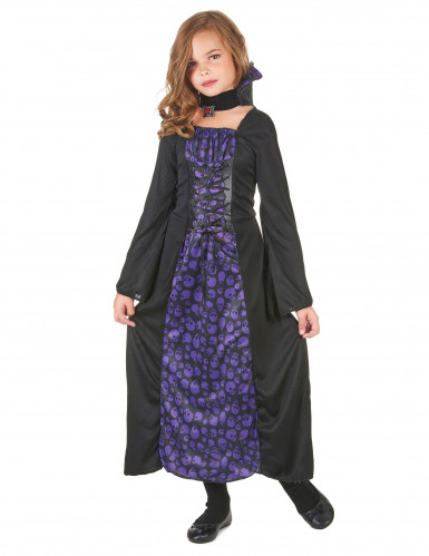 Edles Vampirmädchen Halloween Kinderkostüm lila-schwarz