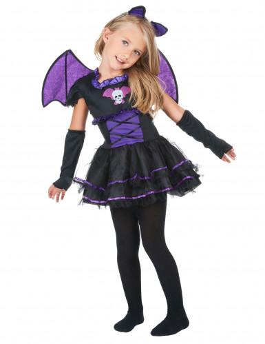 Süsse Vampir-Fledermaus Kinderkostüm schwarz-lila