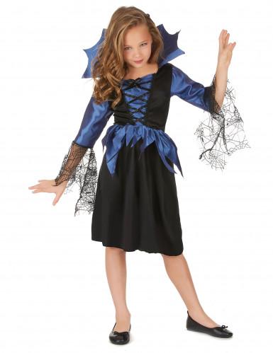 Süße Spinnen-Königin Kinderkostüm blau-schwarz