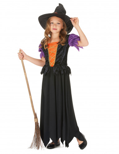 Kleine Hexe Halloween-Kinderkostüm schwarz-orange-lila