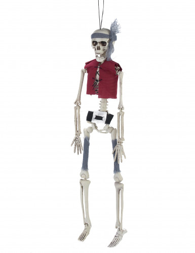 Piratenskelett Halloween-Dekoration grau-rot