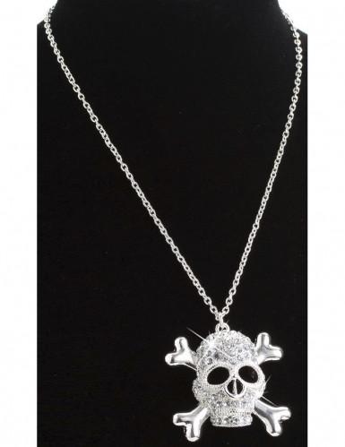 Piraten Totenkopf-Kette mit Strass silber