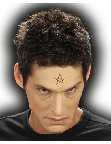 Pentagramm Brandzeichen Latex-Applikation rot-beige