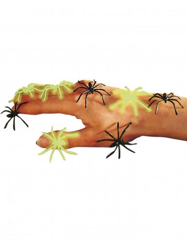 Leuchtende Halloween-Spinnen Phosphoreszierende Deko-Spinnen 6 Stück schwarz-grün