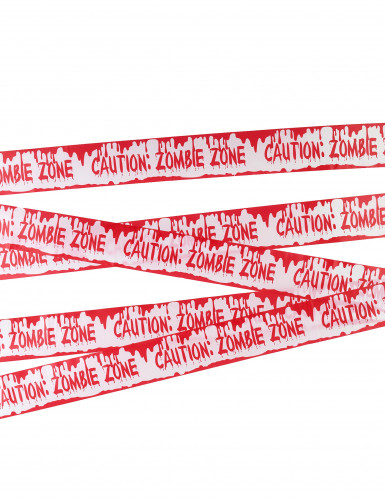 Absperrband Caution: Zombie Zone Halloween-Deko weiss-rot 7,20mx5,6cm