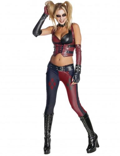 Harley Quinn™-Damenkostüm Batman Arkham City rot-schwarz