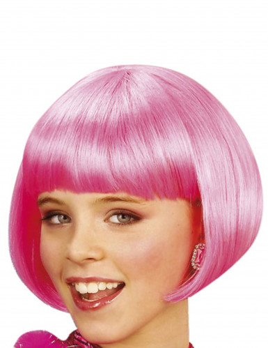 Glatte Bob-Perücke Damen-Kurzhaarperücke neon pink