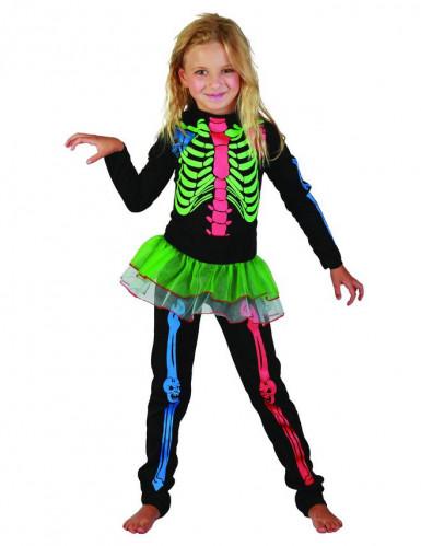 Süsses Skelett-Kinderkostüm Halloween bunt