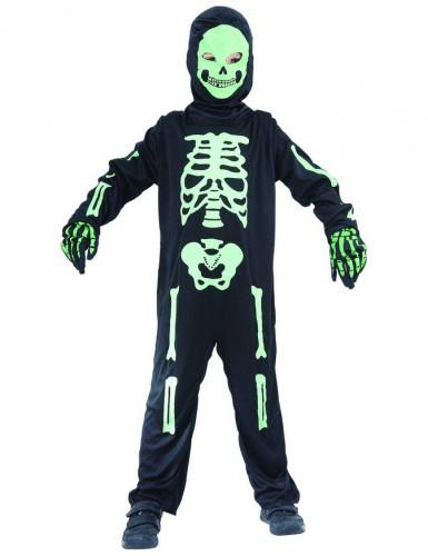 Schauriges Skelett Halloween-Kinderkostüm schwarz-grün