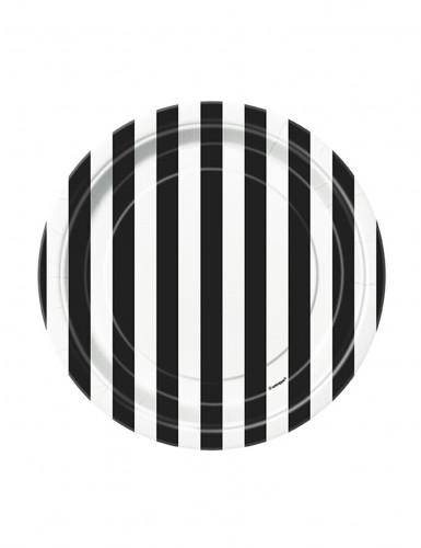 Pappteller 8 Stück schwarz-weiß gestreift 18cm