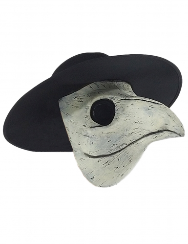 Pestdoktor Latex-Maske schwarz-beige