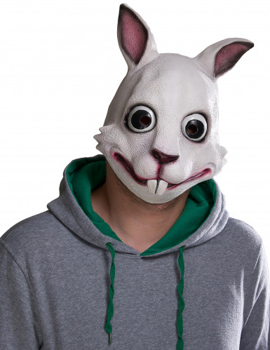 Hasen-Maske Halloween-Maske weiss-rosa
