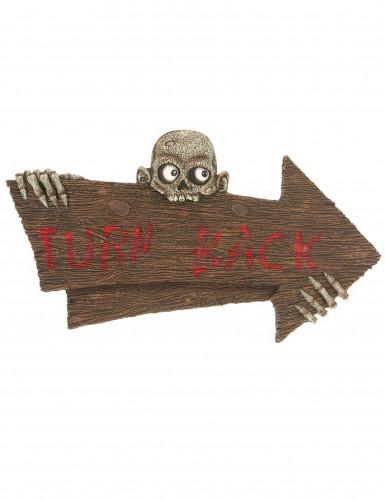 Turn Back Halloween-Dekoschild mit Zombie braun-rot 90x50cm