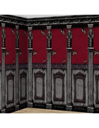 Barockes Geisterschloss Halloween Wanddeko-Folie grau-rot 2,4 m x 6 m