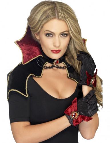 Vampirin Kostüm-Set Kragen und Handschuhe schwarz-rot 3-teilig
