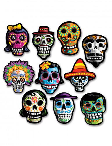 Tag der Toten Pappdeko Sugar Skulls 10 Stück bunt 4cm