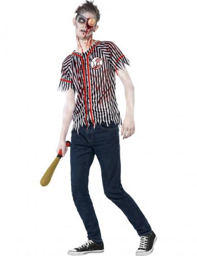 Zombie-Baseballspieler Halloween-Herrenkostüm schwarz-weiss-rot