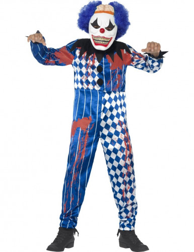 Schauriger Clown Halloween Kinderkostüm mit Maske weiss-blau-rot