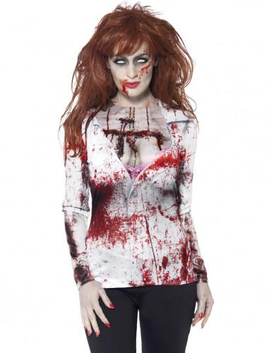 Zombie-Frau Halloween Longsleeve weiss-rot