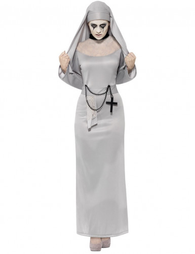Geisterhafte Nonne Halloween Damenkostüm grau