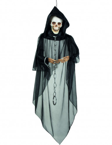 Gruseliger Skelett-Gefangener Halloween-Hängedeko schwarz-beige 132cm