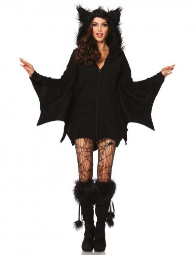 Süsses Fledermaus-Damenkostüm Halloween schwarz