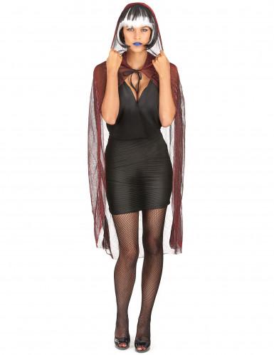 Spinnen-Cape mit Kapuze Halloween Kostümaccessoire transparent-rot ...