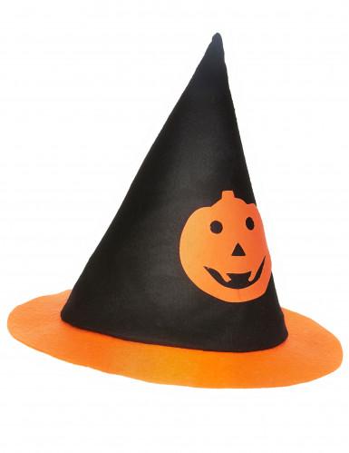 Hexenhut mit Kürbis für Kinder Halloween schwarz-orange