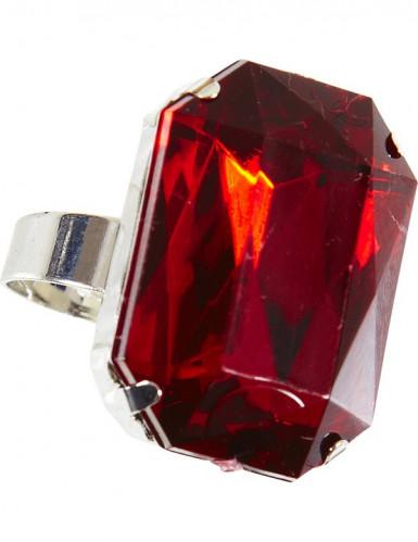 Verstellbarer Ring Mittelalter-Schmuck silber-rot