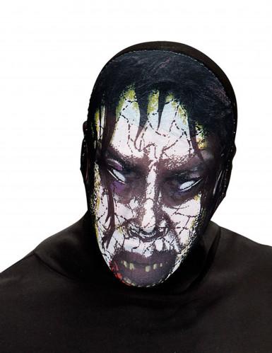 Zombie Strumpfmaske Halloween Kostümaccessoire schwarz-weiss-grün
