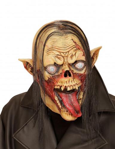 Halloween Maske Zombie Vampir mit Haaren für Erwachsene beige-schwarz