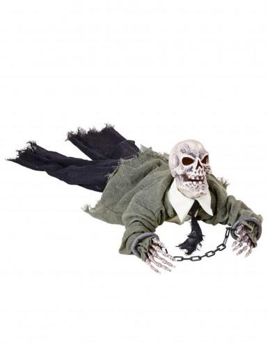 Kriechende Skelett-Leiche animiert mit Sound und Leuchtaugen Halloween-Party-Deko weiss-bunt 80cm