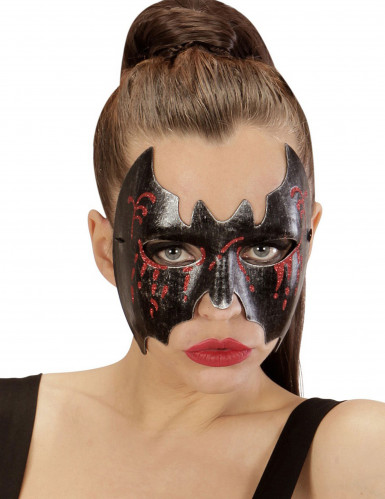 Blutverschmierte Fledermaus Halloween-Augenmaske für Damen Kostüm-Accessoire schwarz-rot