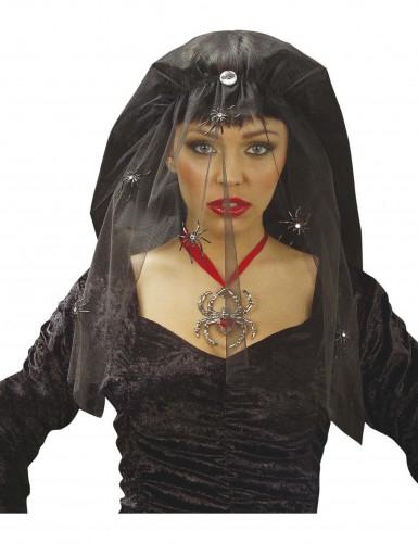Schwarzer Halloween Schleier für Damen mit Spinnen schwarz