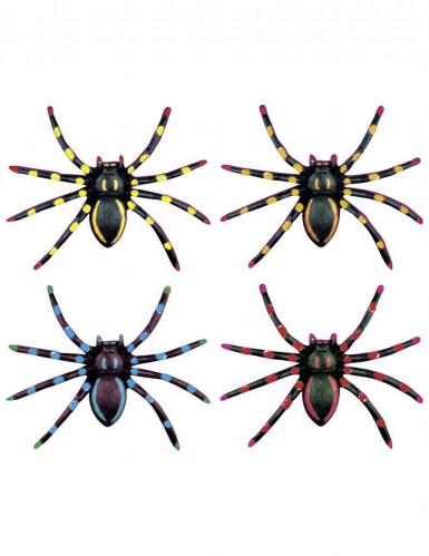 Spinnen-Deko Halloween-Deko 4-er Set Neonfarben bunt 5x8x2cm