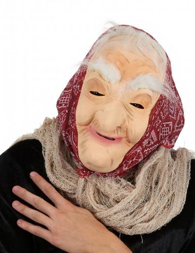 Halloween Maske Alte Hexe mit Haar und Kopftuch für Erwachsene beige-rot