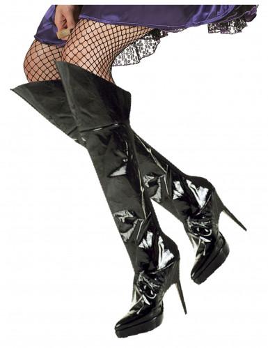 Stiefelstulpen Lack Kostüm-Zubehör schwarz
