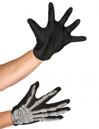 Skelett-Knochenhandschuhe schwarz-weiss