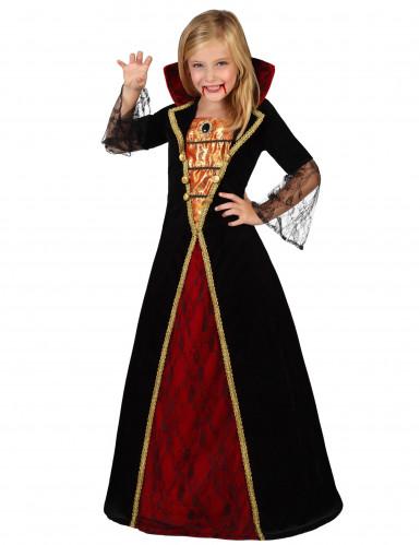Vampir-Prinzessin Halloween-Kinderkostüm schwarz-rot-gold